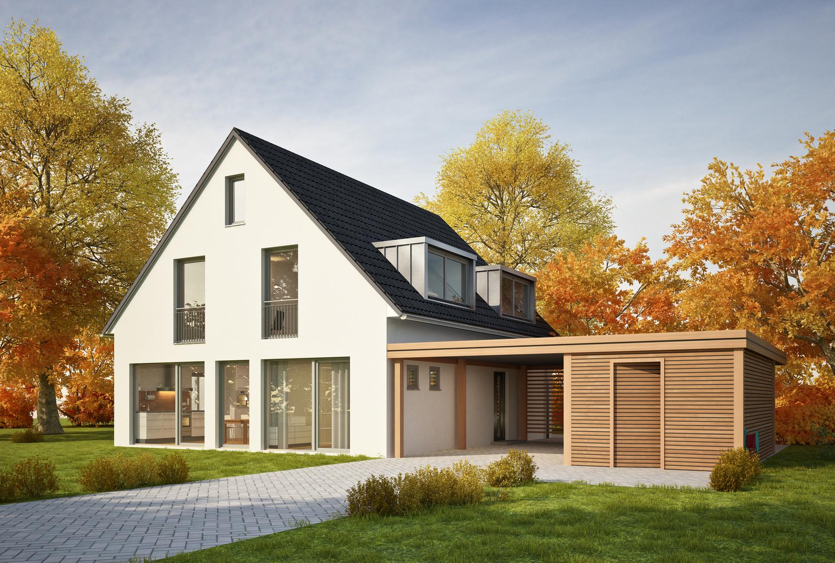 Haus Mit Carport Im Herbst
